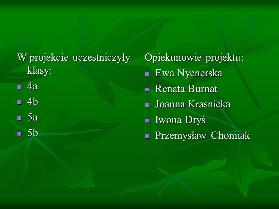 W projekcie uczestniczyły klasy: