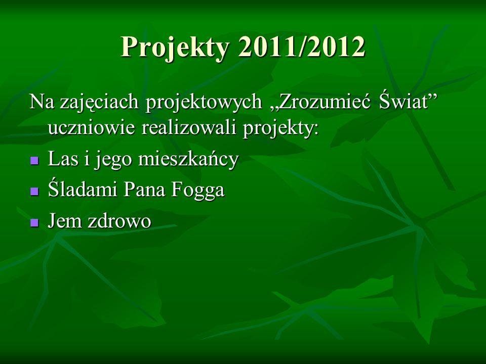 """Projekty 2011/2012 Na zajęciach projektowych """"Zrozumieć Świat uczniowie realizowali projekty: Las i jego mieszkańcy."""