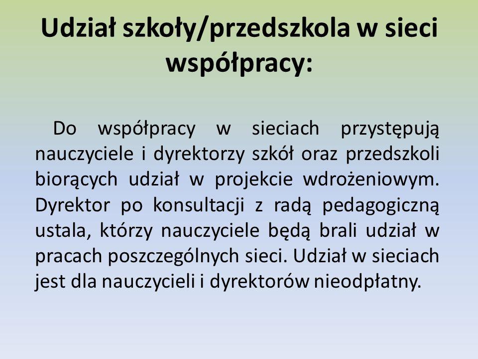 Udział szkoły/przedszkola w sieci współpracy: