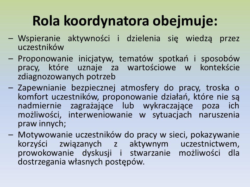 Rola koordynatora obejmuje: