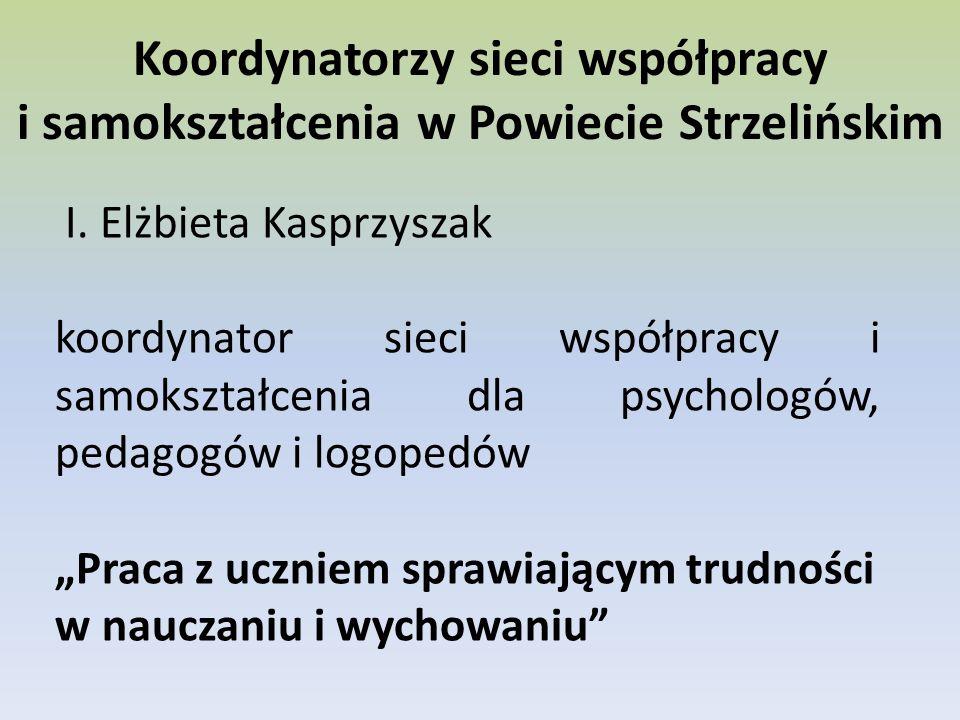 Koordynatorzy sieci współpracy i samokształcenia w Powiecie Strzelińskim