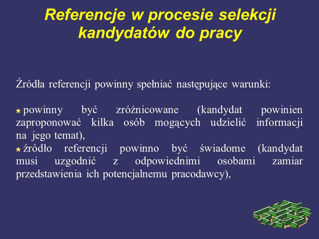 Referencje w procesie selekcji kandydatów do pracy