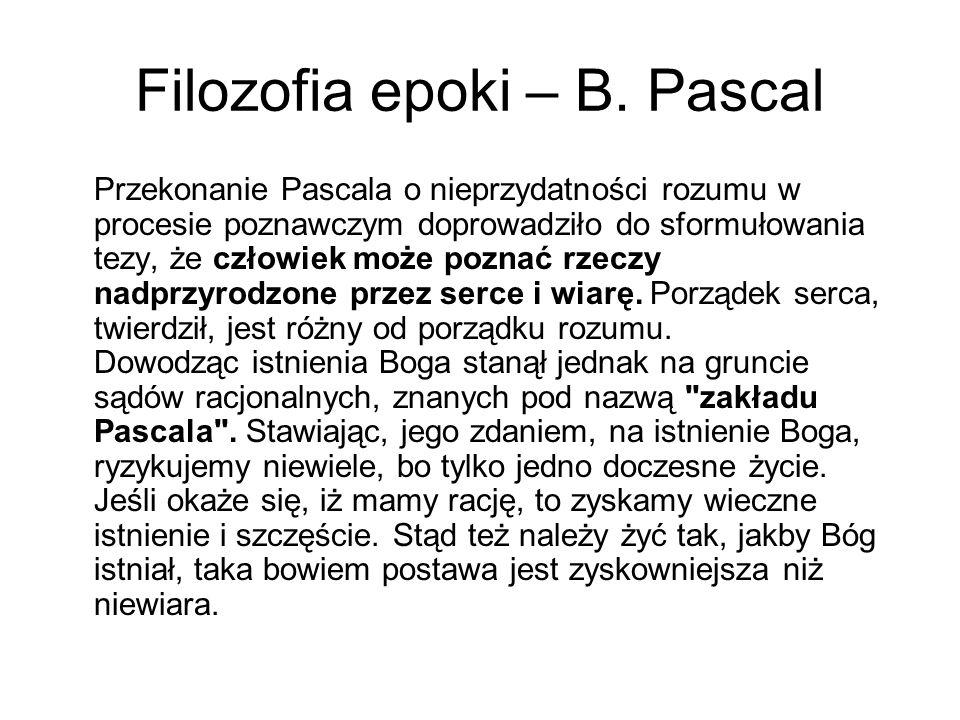 Filozofia epoki – B. Pascal