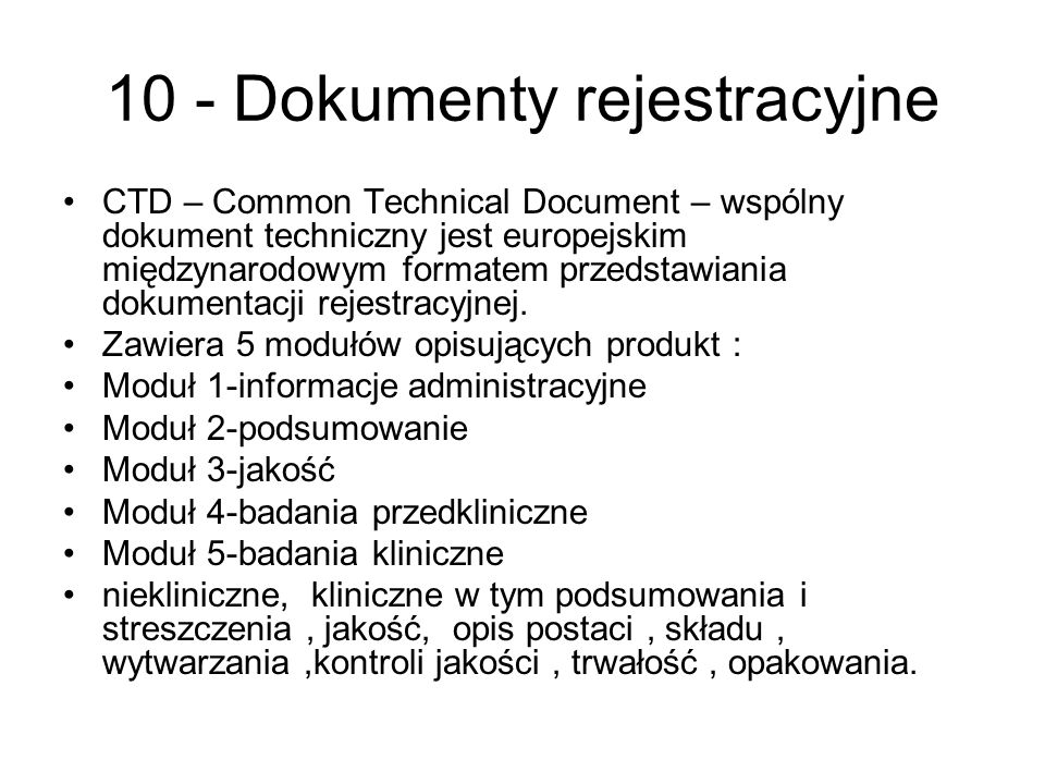 10 - Dokumenty rejestracyjne
