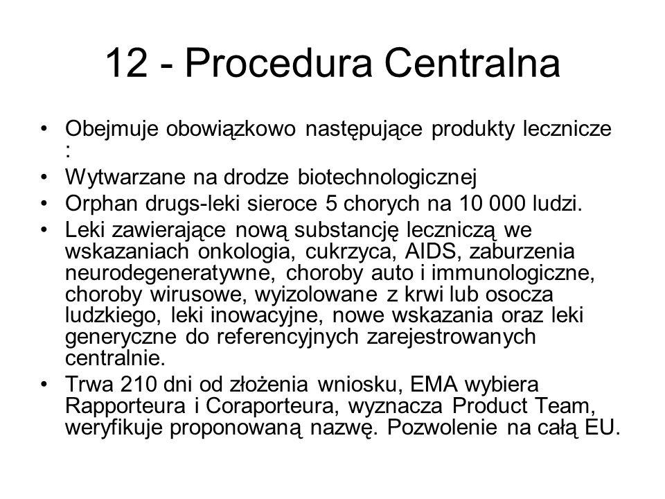 12 - Procedura Centralna Obejmuje obowiązkowo następujące produkty lecznicze : Wytwarzane na drodze biotechnologicznej.