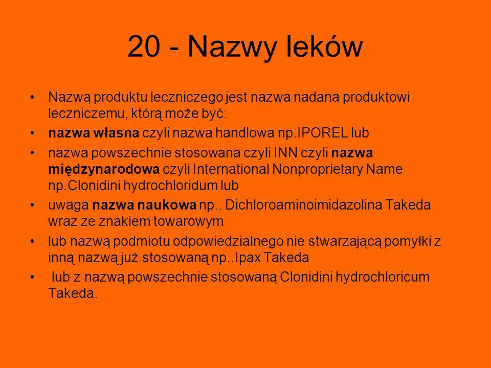 20 - Nazwy leków Nazwą produktu leczniczego jest nazwa nadana produktowi leczniczemu, którą może być: