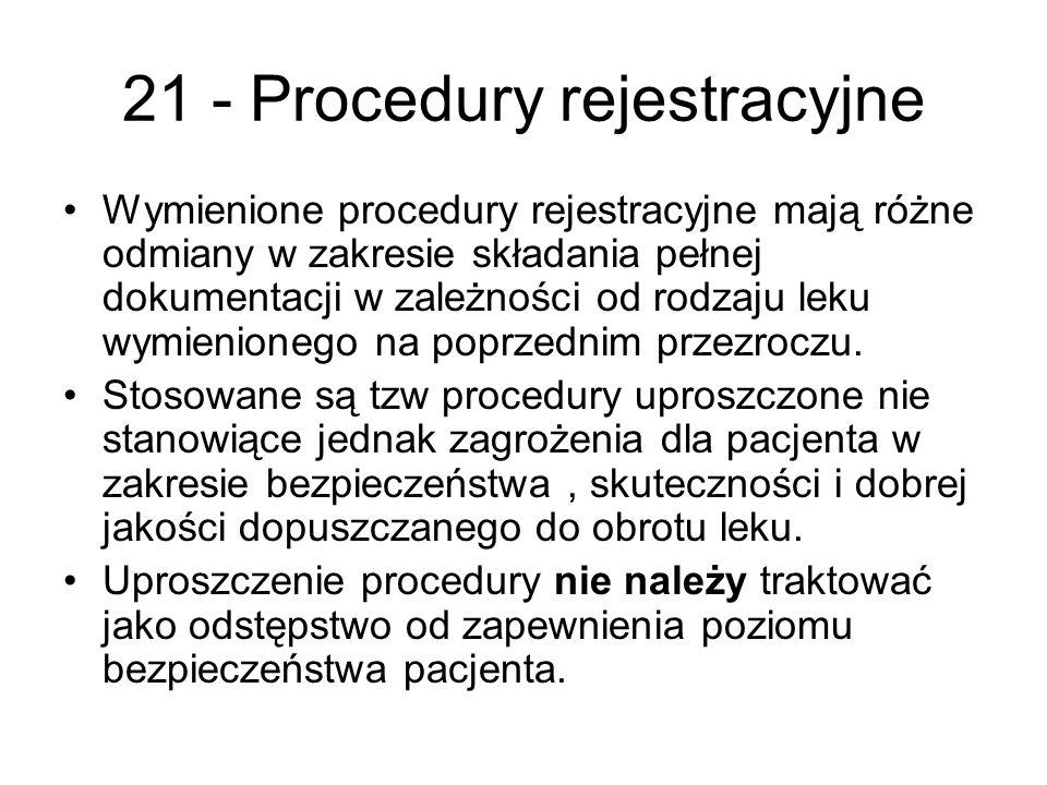 21 - Procedury rejestracyjne