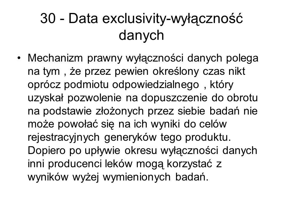 30 - Data exclusivity-wyłączność danych
