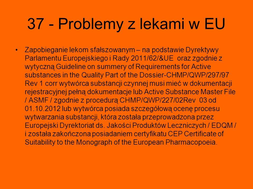 37 - Problemy z lekami w EU