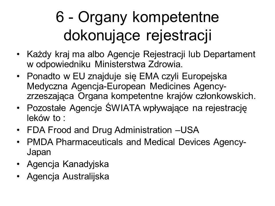 6 - Organy kompetentne dokonujące rejestracji