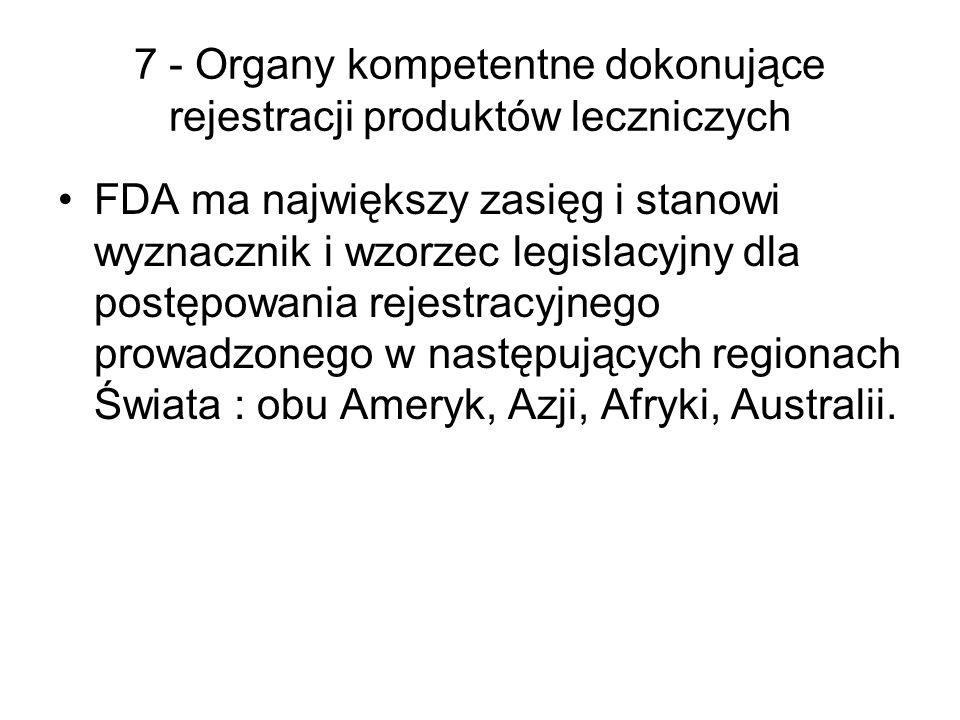 7 - Organy kompetentne dokonujące rejestracji produktów leczniczych