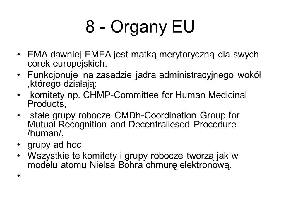 8 - Organy EU EMA dawniej EMEA jest matką merytoryczną dla swych córek europejskich.