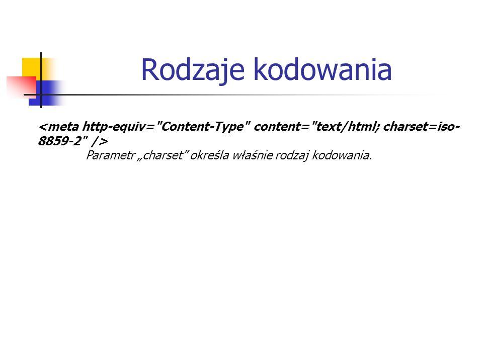 """Rodzaje kodowania <meta http-equiv= Content-Type content= text/html; charset=iso-8859-2 /> Parametr """"charset określa właśnie rodzaj kodowania."""