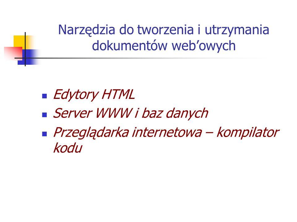 Narzędzia do tworzenia i utrzymania dokumentów web'owych