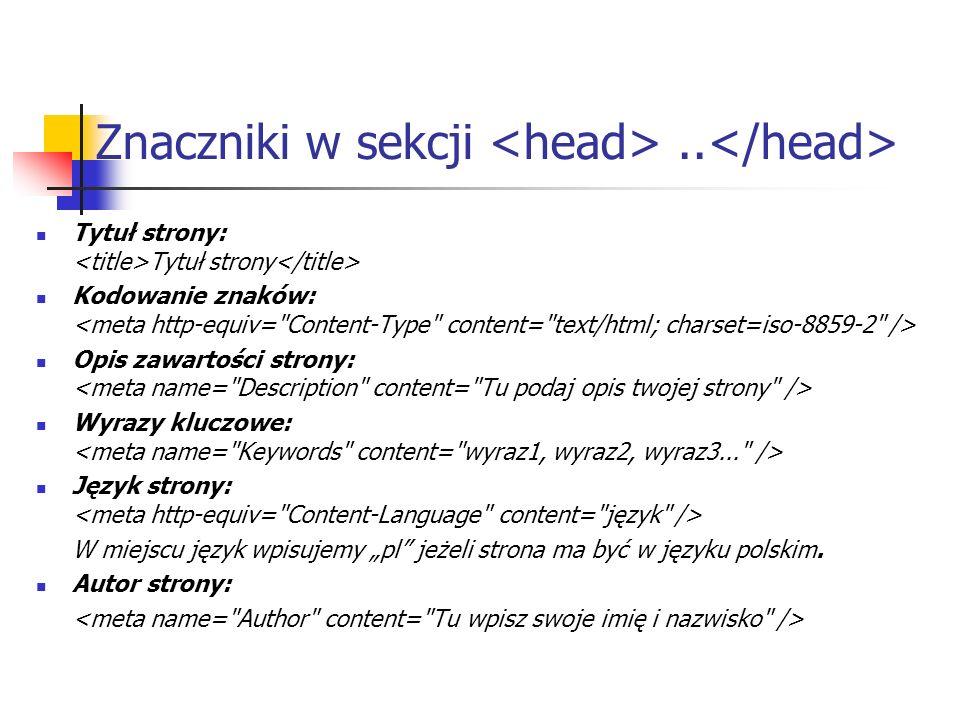 Znaczniki w sekcji <head> ..</head>