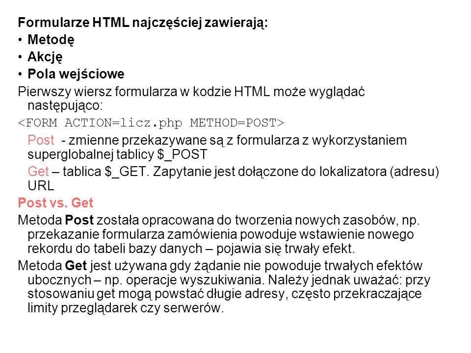 Formularze HTML najczęściej zawierają: