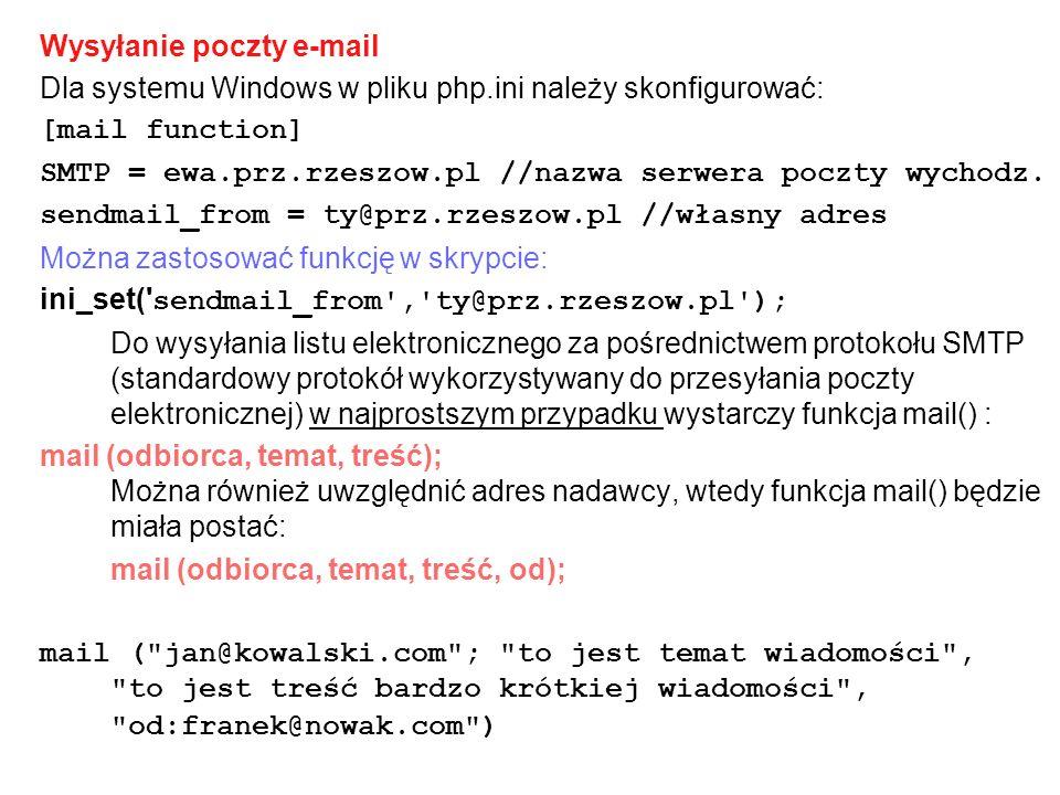 Wysyłanie poczty e-mail