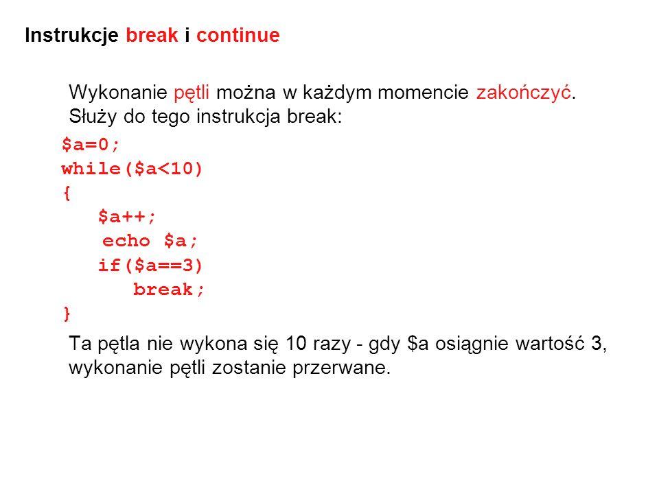 Instrukcje break i continue