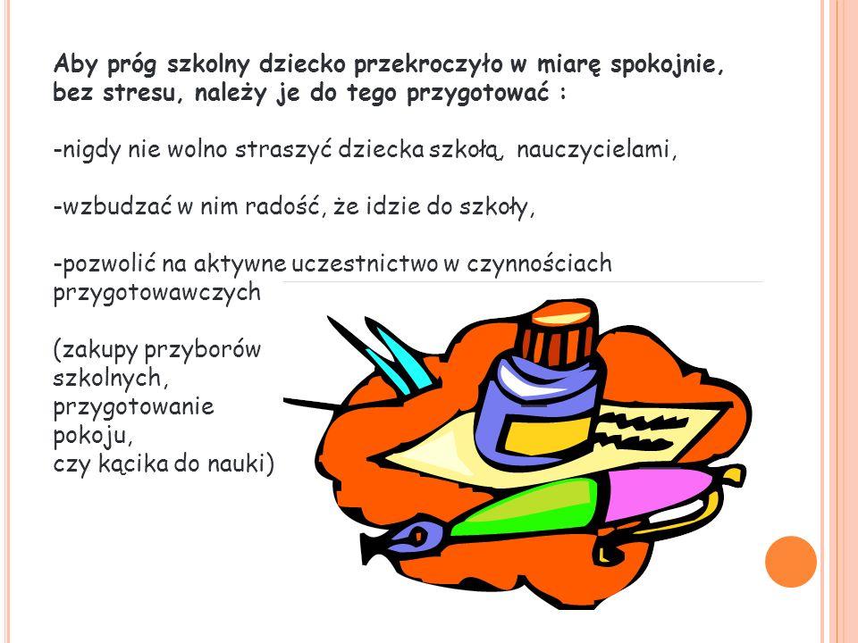 Aby próg szkolny dziecko przekroczyło w miarę spokojnie, bez stresu, należy je do tego przygotować :