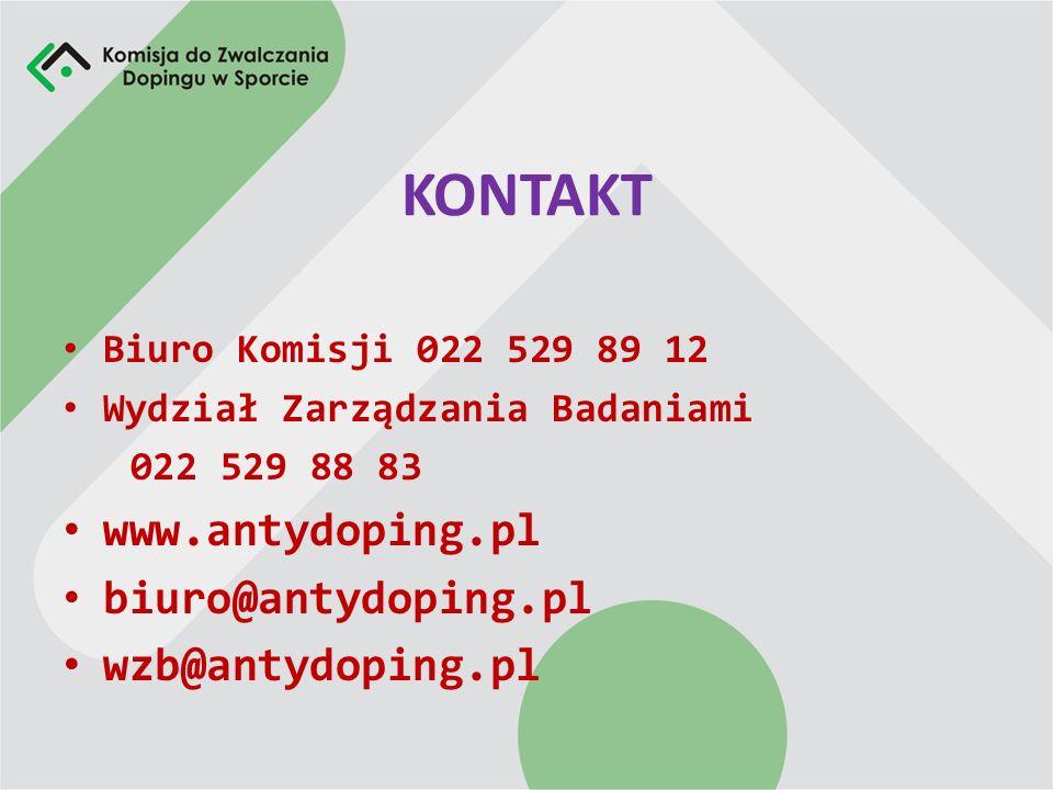 KONTAKT www.antydoping.pl biuro@antydoping.pl wzb@antydoping.pl