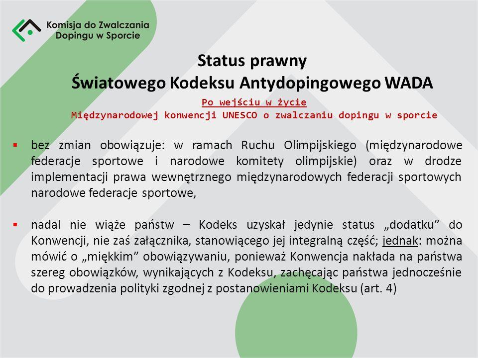 Status prawny Światowego Kodeksu Antydopingowego WADA