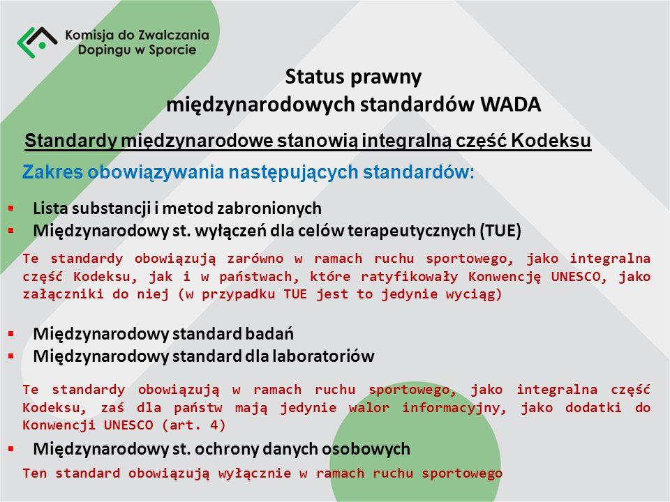 Status prawny międzynarodowych standardów WADA