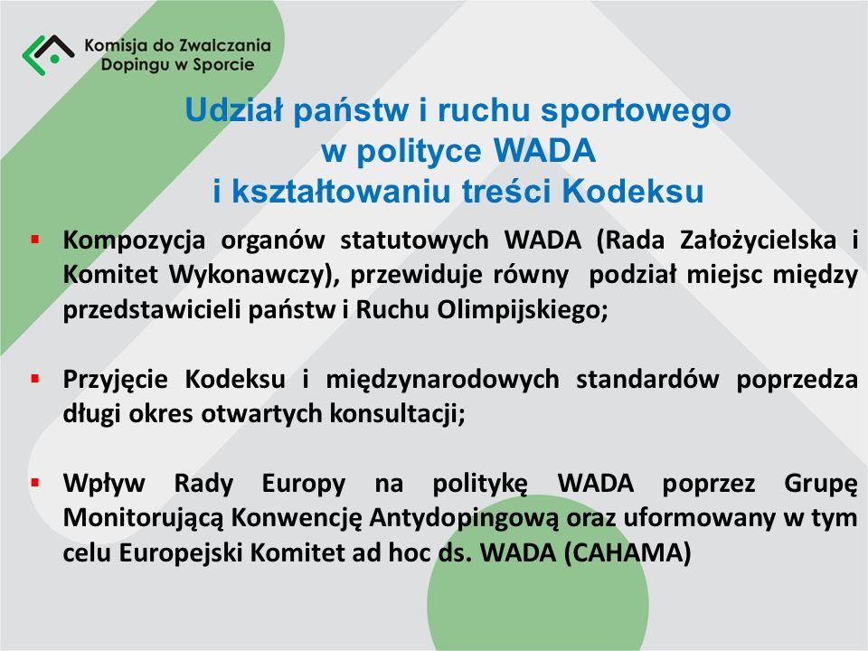 Udział państw i ruchu sportowego w polityce WADA i kształtowaniu treści Kodeksu