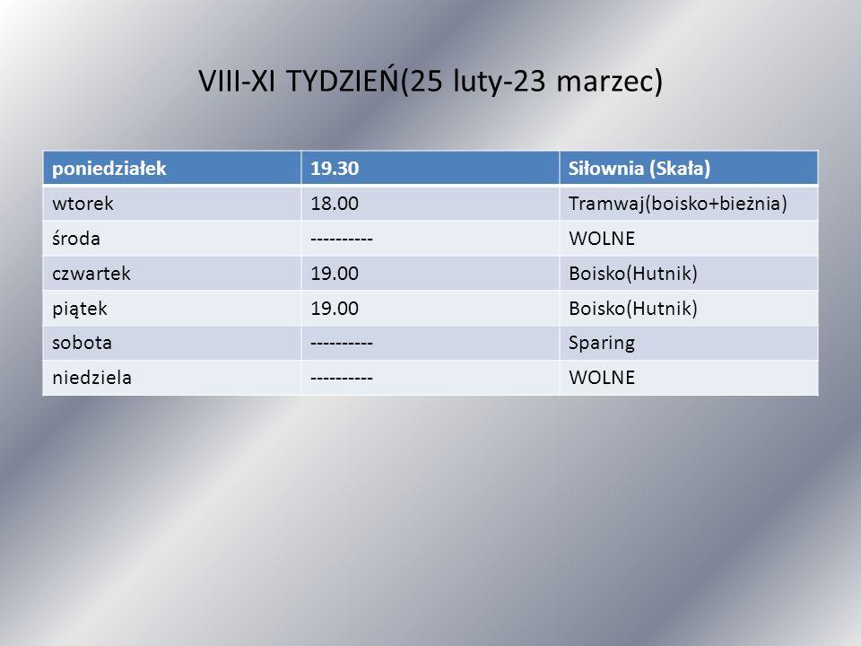 VIII-XI TYDZIEŃ(25 luty-23 marzec)