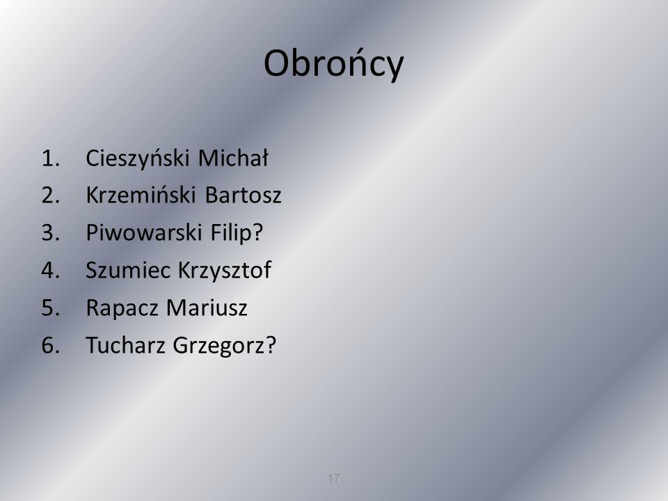 Obrońcy Cieszyński Michał Krzemiński Bartosz Piwowarski Filip