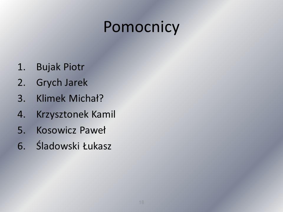 Pomocnicy Bujak Piotr Grych Jarek Klimek Michał Krzysztonek Kamil