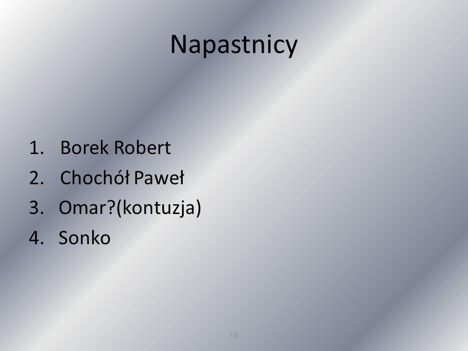 Napastnicy Borek Robert Chochół Paweł 3. Omar (kontuzja) 4. Sonko