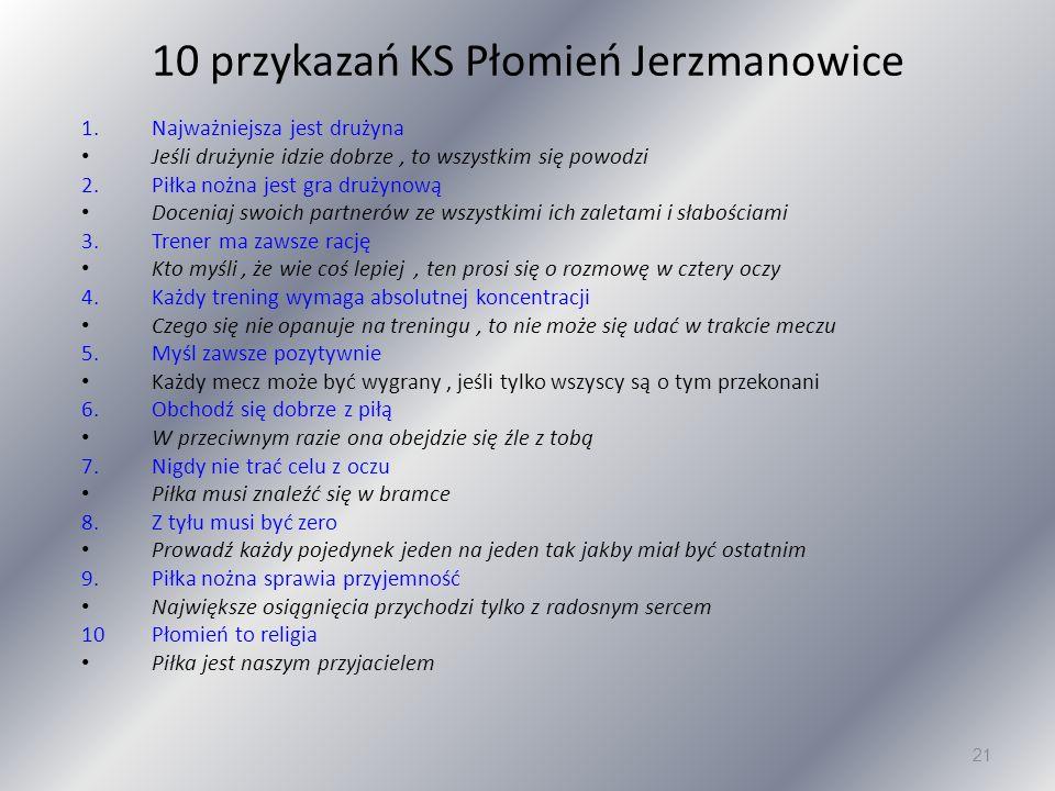 10 przykazań KS Płomień Jerzmanowice