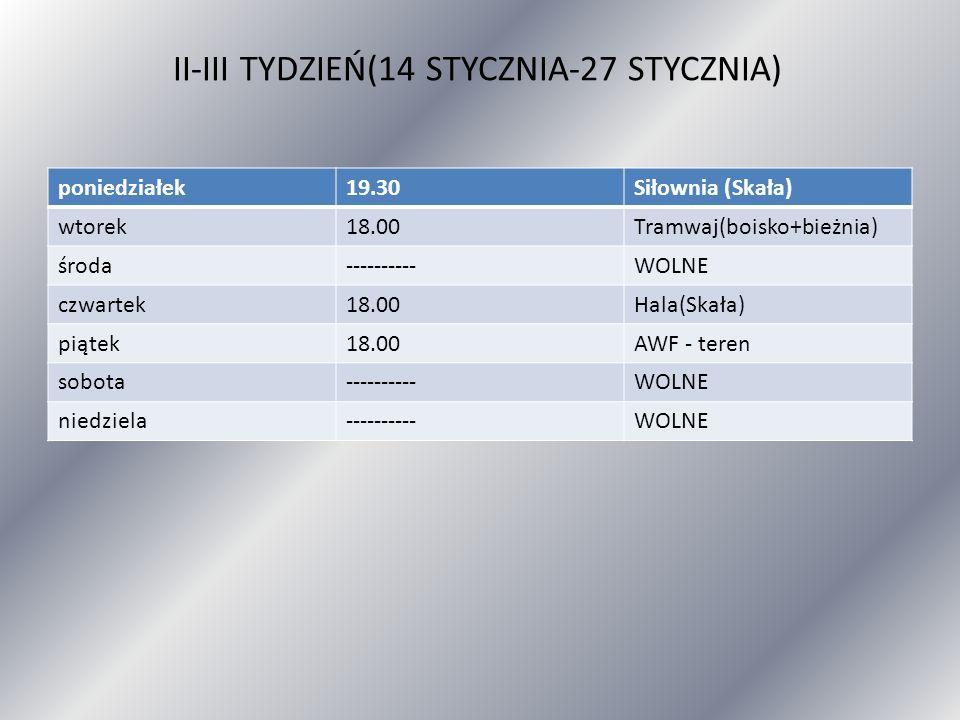 II-III TYDZIEŃ(14 STYCZNIA-27 STYCZNIA)
