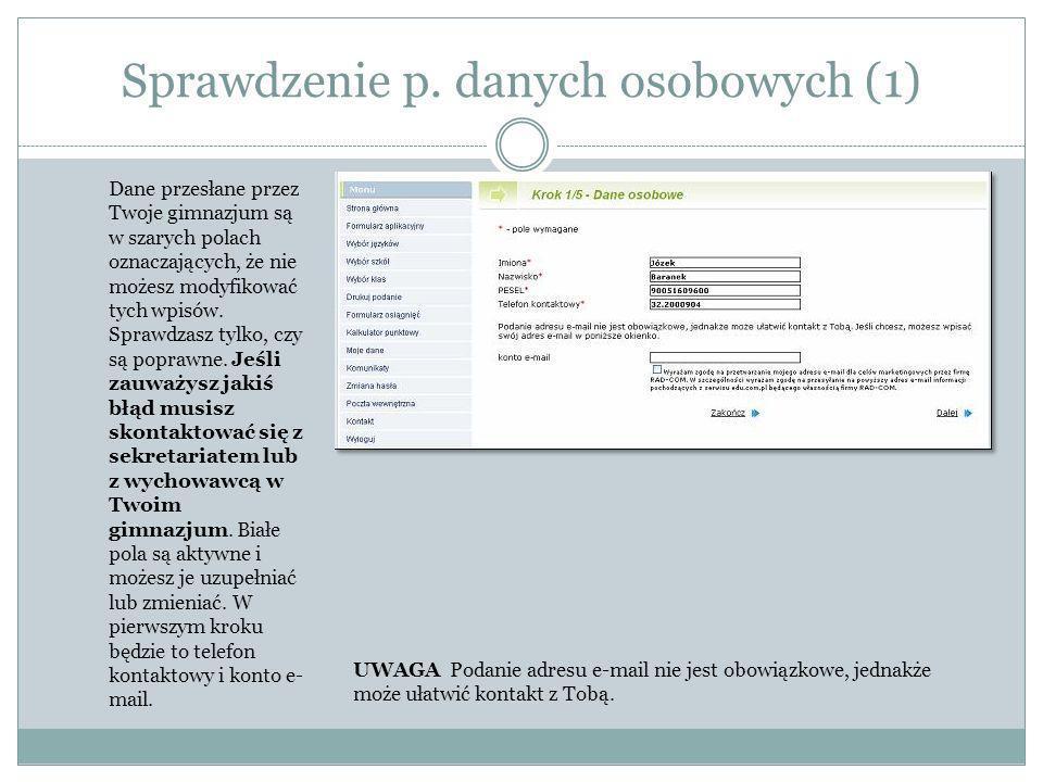 Sprawdzenie p. danych osobowych (1)