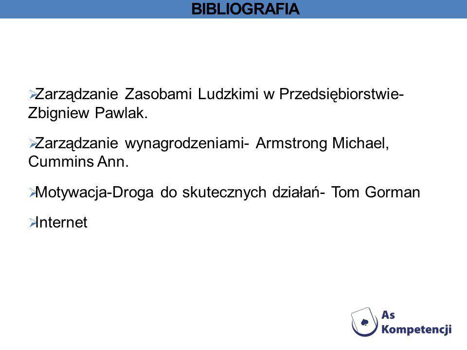 bibliografia Zarządzanie Zasobami Ludzkimi w Przedsiębiorstwie- Zbigniew Pawlak. Zarządzanie wynagrodzeniami- Armstrong Michael, Cummins Ann.