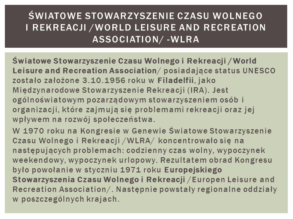 Światowe Stowarzyszenie Czasu Wolnego i Rekreacji /World Leisure and Recreation Association/ -WLRA