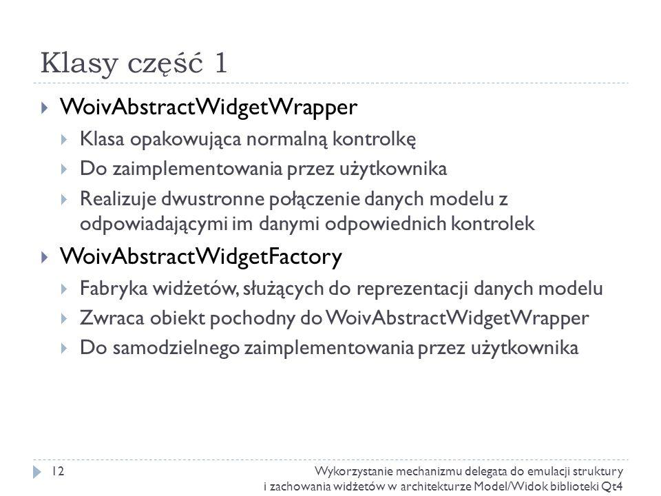 Klasy część 1 WoivAbstractWidgetWrapper WoivAbstractWidgetFactory