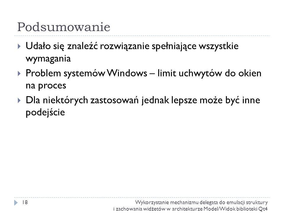 Podsumowanie Udało się znaleźć rozwiązanie spełniające wszystkie wymagania. Problem systemów Windows – limit uchwytów do okien na proces.