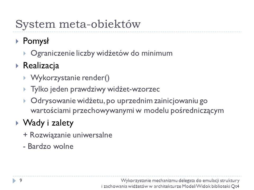 System meta-obiektów Pomysł Realizacja Wady i zalety
