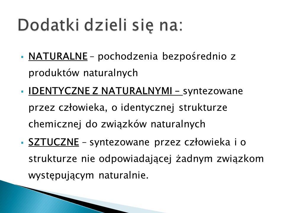 Dodatki dzieli się na: NATURALNE – pochodzenia bezpośrednio z produktów naturalnych.