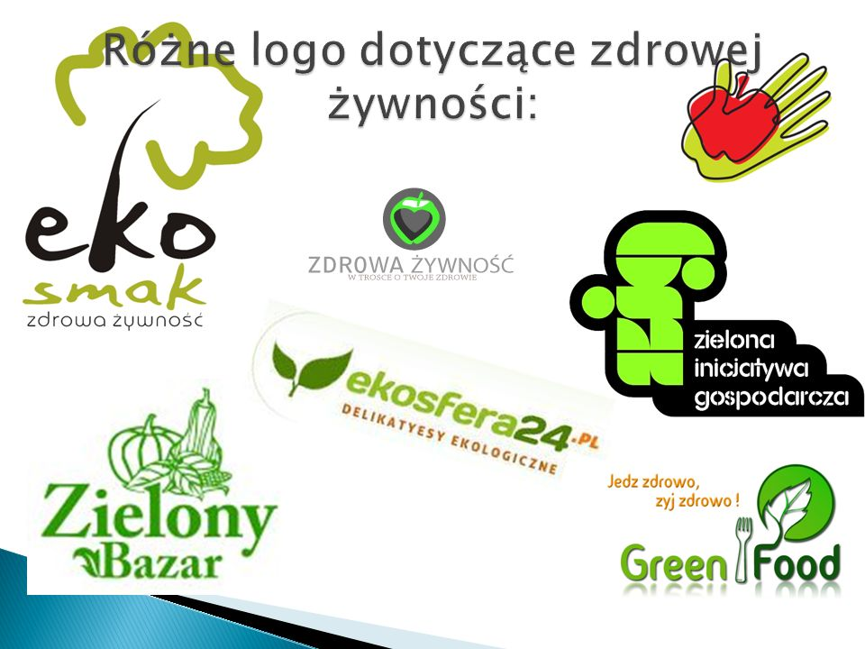 Różne logo dotyczące zdrowej żywności: