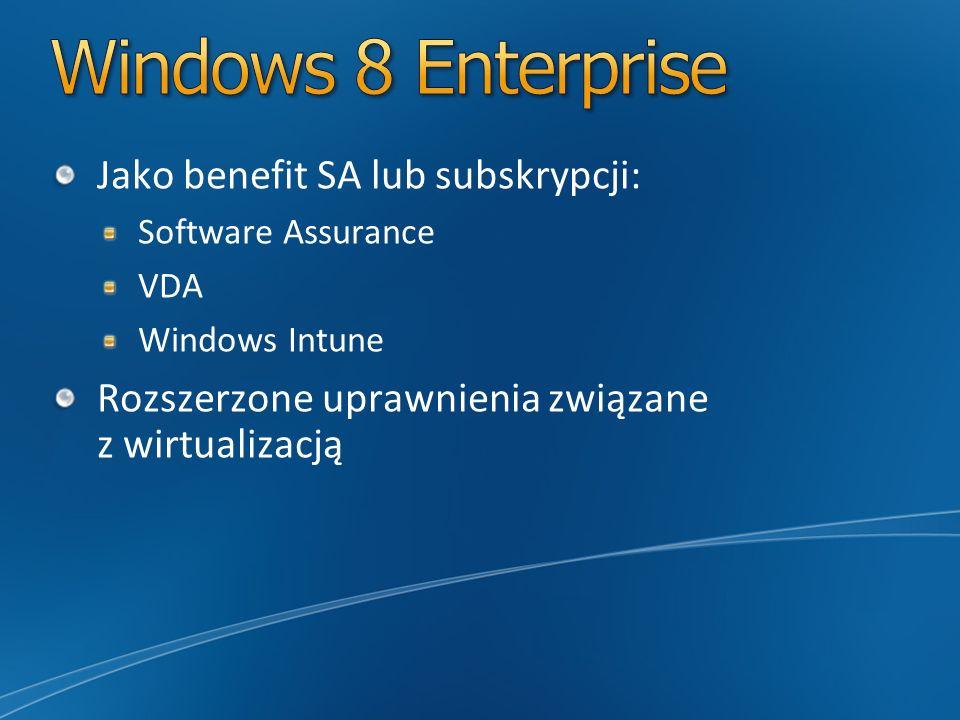 Windows 8 Enterprise Jako benefit SA lub subskrypcji: