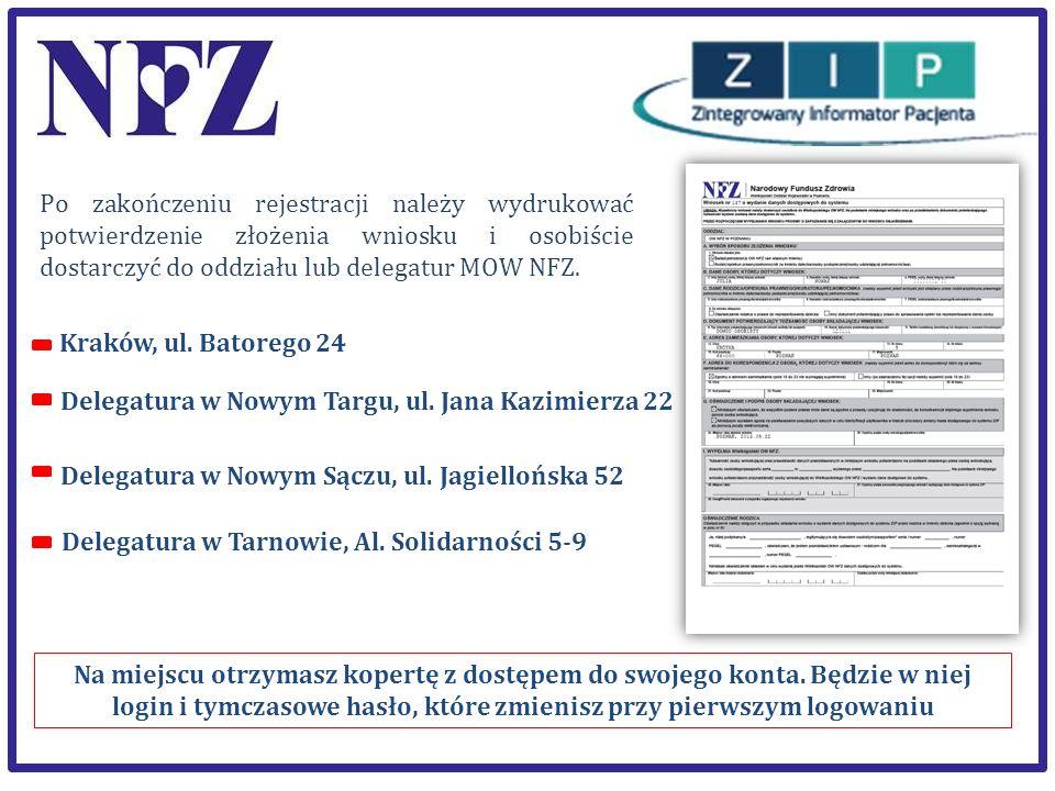 Po zakończeniu rejestracji należy wydrukować potwierdzenie złożenia wniosku i osobiście dostarczyć do oddziału lub delegatur MOW NFZ.