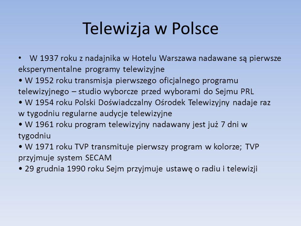 Telewizja w PolsceW 1937 roku z nadajnika w Hotelu Warszawa nadawane są pierwsze. eksperymentalne programy telewizyjne.