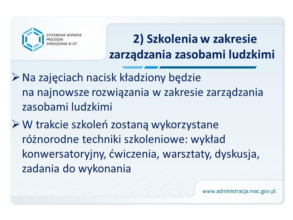 2) Szkolenia w zakresie zarządzania zasobami ludzkimi