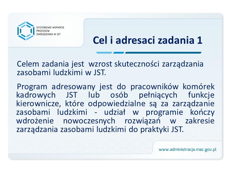Cel i adresaci zadania 1 Celem zadania jest wzrost skuteczności zarządzania. zasobami ludzkimi w JST.