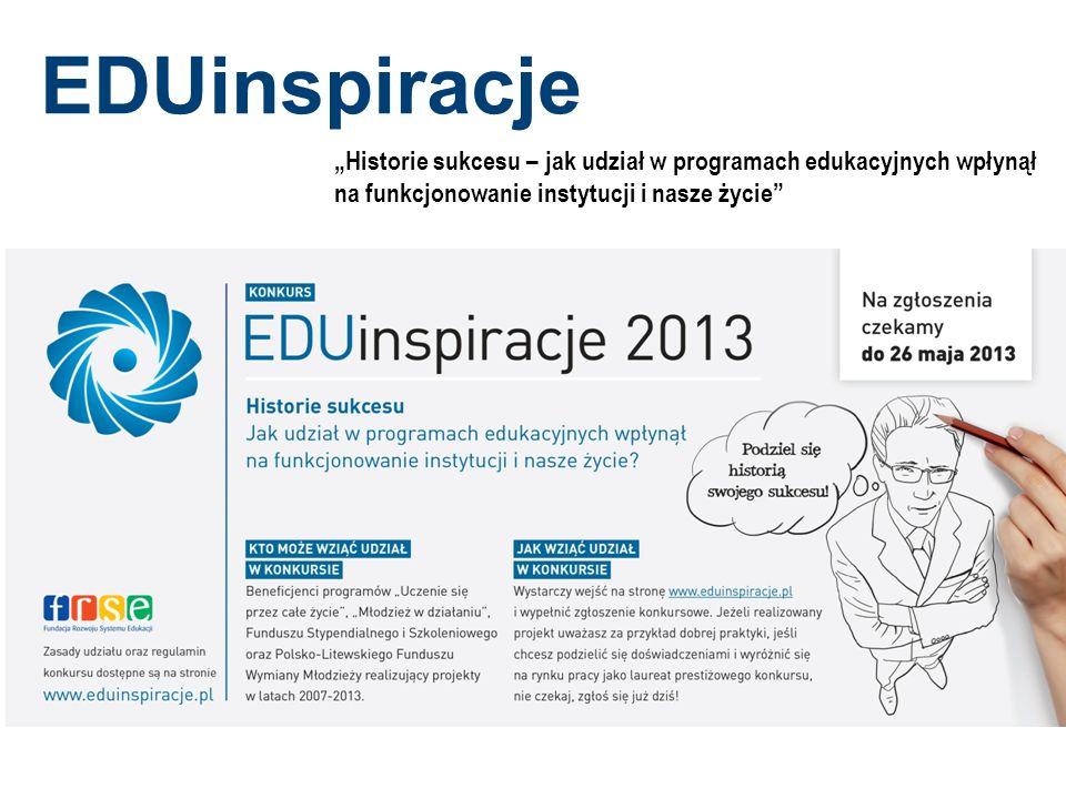 """EDUinspiracje """"Historie sukcesu – jak udział w programach edukacyjnych wpłynął. na funkcjonowanie instytucji i nasze życie"""
