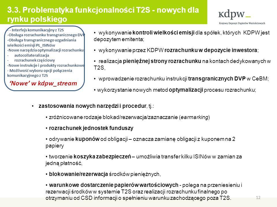 3.3. Problematyka funkcjonalności T2S - nowych dla rynku polskiego
