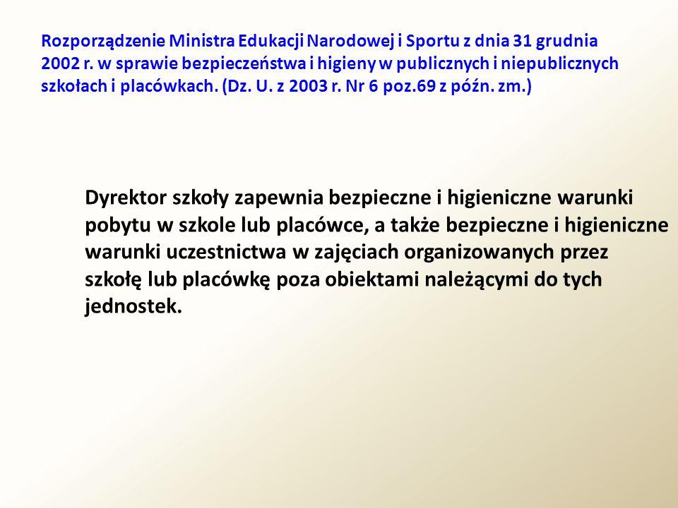 Rozporządzenie Ministra Edukacji Narodowej i Sportu z dnia 31 grudnia 2002 r. w sprawie bezpieczeństwa i higieny w publicznych i niepublicznych szkołach i placówkach. (Dz. U. z 2003 r. Nr 6 poz.69 z późn. zm.)