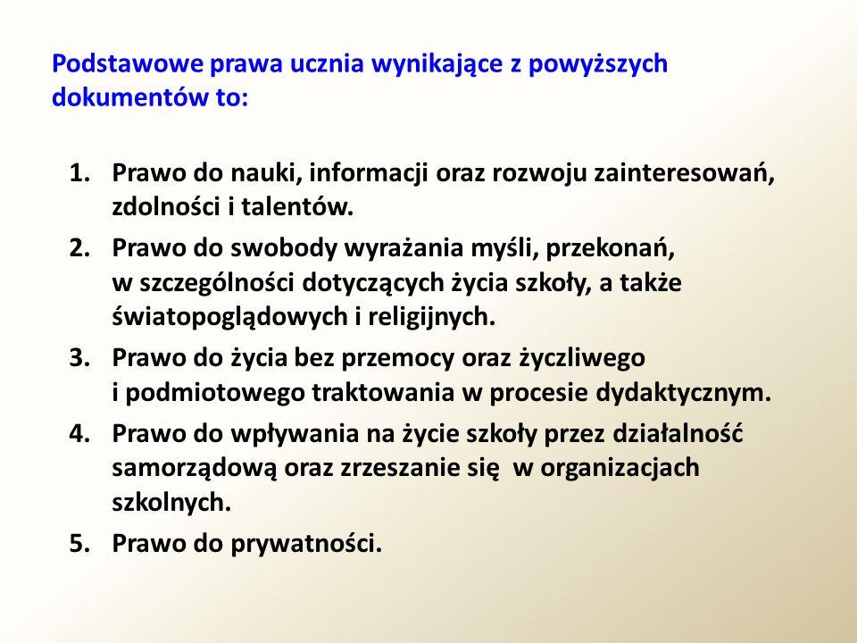 Podstawowe prawa ucznia wynikające z powyższych dokumentów to: